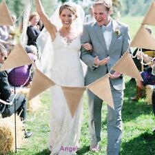 3m 13 Flags Vintage Jute Hessian Burlap Bunting Banner Wedding Xmas Home Decor
