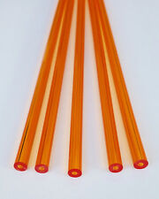 """5 Pc 3/8"""" OD 1/8"""" ID CLEAR AMBER ACRYLIC PLEXIGLASS LUCITE TUBES 12"""" INCH LONG"""