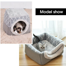 2in1 Covered Cat Bed Cave & Cat Condo For Indoor Cats Washable Warm House Kennel