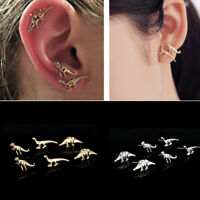 Unisex Women Men 3/6Pairs Gold Silver Dinosaur Earrings Ear Stud Punk Jewelry