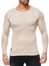 Redbridge Herren Strickpullover Strick- Pulli Pullover Sweatshirt Slim-Fit Beige