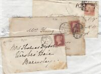 GB QV 1d Red Covers x 3 Postal History J7742
