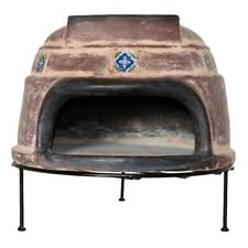 22 In Talavera Tile Ocre Round Smooth Wood Burning Outdoor Pizza Oven In Brown