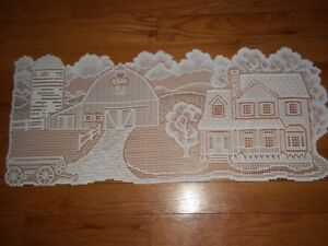 LACE TABLE RUNNER WHITE 36 X 14  HOUSE HOME DECOR ACCENT BARN FARM WTRB423