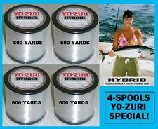 4 PACK YO-ZURI HYBRID Fluorocarbon Fishing Line 12lb/600yd CLEAR COLOR NEW!