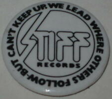 "80's Stiff Records of England ""We Lead Where Others Follow & Can't Keep Up"" Pin"