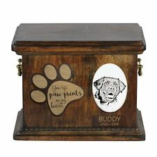 Stabyhoun - Urn for dog's ashes with ceramic plate and description Usa
