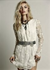 NEW Free People X Mes Demoiselles ivory white Embroidered Sash Mini Dress 36/ 4