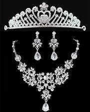 Bride Wedding Jewelry Set Crystal Diamond Tiara Crown Necklace Pendant Earrings