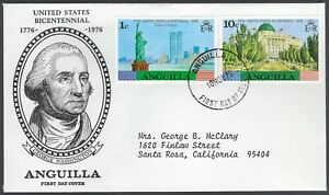 ANGUILLA FDC - STATUE OF LIBERTY & CAPITOL (U.S. BICENTENNIAL) COMBO - CACHETED!