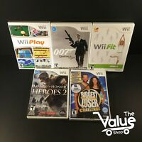 Nintendo Wii Video Game Bundle Lot (5 Games) Wii Play, 007, Wii fit, & More