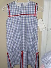 NWT Strasburg Boutique Red Blue Plaid Sleeveless Pleated Dress Sz 8 Church Colla