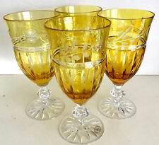 4 CRYSTAL WINE WATER ICE TEA GLASS AMBER GOLD CASED CUT TO CLEAR AJKA PRIONNSEAS