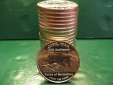 "20 ""Battle of Gettysburg"" 1oz .999 Copper Rounds in a plastic tube Civil War Ser"