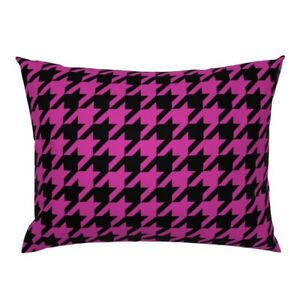 Houndstooth Check Black And Pink Classic Plaid Hipster Pillow Sham by Roostery