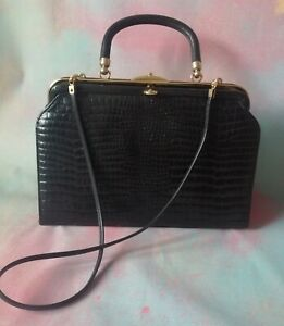 Vintage black leather moc-croc strap & handle kelly bag gold tone metal
