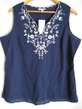 FASHION BUG womens sleeveless blouse L floral navy embroidery V-neck 100% COTTON