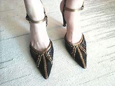 STEPHANE KELIAN Weave Leather Slingbacks Sandals Black Gold Shoes Womens US 9/40