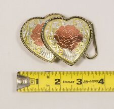 "Metal Double Heart Gold Rose Rope Belt Buckle 3.5"" x 2.5"""