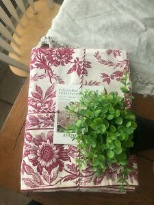 """APRIL CORNELL NEW 60"""" X 120"""" TABLECLOTH TOILE RED FELICITY 100% COTTON"""