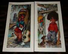 LOT OF 2 MICHEL THOMAS BIG EYE KIDS ARTWORK PRINTS~ AU BISTROT & LA MUSE