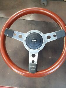 Wood Rim Dished Steering Wheel Boss Horn