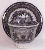Washington Vase Flow Black Cup & Saucer Handleless Podmore Walker Antique #4