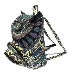 Indian Mandala Elephant Backpack Deer Cotton Unisex Backpack Bag Adjustable