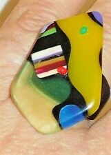 Sobral Miro Kopf Colorful Statement Ring Size 8.5 Brazil Import