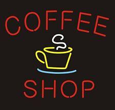 "Neon Light Sign 24""x20"" Coffee Shop Open Cafe Glass Decor Bar Lamp"