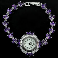 Sterling Silver 925 Marquise Amethyst and Lab Diamond Watch 73/4 Inches