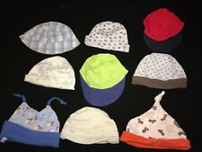 9 pc BABY BOYS HATS LOT size 3/6 month SNOOPY HARLEY DAVIDSON twisty top HORSE @