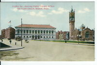 CG-059 MA, Boston, Copley Square Public Library Divided Back Postcard Trolley