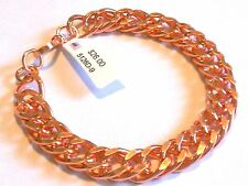 "NEW PURE Bright Polished Copper Chain (double) Link Men's 9.25"" Bracelet"