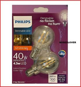 Philips 40-Watt Equivalent G16.5 LED Light Bulb Soft White Globe (2-Pack)
