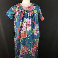 Vintage 70s At Home Hawaiian Print Long Muumuu Housecoat Gown Dress Size Medium