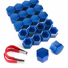 20pcs 17mm Plastic Wheel Lug Nut Bolt Cover with Dismantle Tool Blue