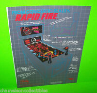 RAPID FIRE By BALLY 1981 ORIGINAL VINTAGE PINBALL MACHINE PROMO SALES FLYER