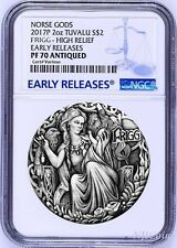 2017 P Norse Goddesses Frigg HIGH RELIEF ANTIQUED 2Oz Silver $2 COIN NGC PF70 ER
