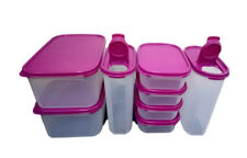 Tupperware Modular Mates Rectangular I II Oval FlipTop IV 2.3L Set of 8 Rhubarb