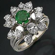 DRAMATIC Natural EMERALD DIAMOND HALO 18k Solid White GOLD RING Val=$3365 Sz H