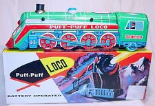 China ME-660 STREAMLINED STEAM LOCOMOTIVE Batt. Op. Tin Toy Train MIB`78 RARE!