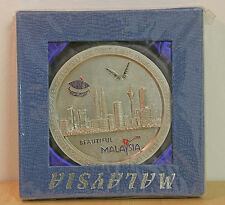 Collectable Large Executive Pewter Desk Display Coaster Malaysia Skyline New