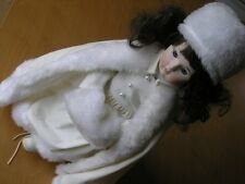"Beautiful Russian Princess Bisque Girl Doll White Velvet Dress 16"" Fur"