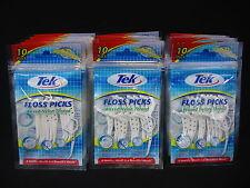 450 Tek Floss Picks Waxed Nylon Shred Resistant Thread Total 45 Resealable Packs