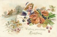 CHRISTMAS – Girl, Bird, Berries and Leaves Tuck Postcard