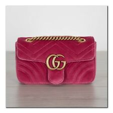 GUCCI 1590$ Authentic New Mini GG Marmont Shoulder Bag In Pink Chevron Velvet