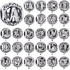 CZ 26 Letters silver charms dangle pendant bead For S925 bracelets chain bangles