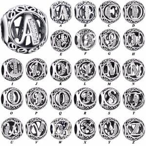 26 Letters CZ S925 silver charms dangle pendant bead For bracelet chain bangle