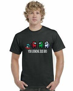 Among Us You Looking Sus Bro Kids Adults T-Shirt Tee Top Gaming Gamer Gift